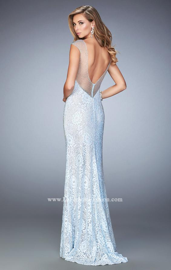 Picture of: Stretch Lace Prom Dress with Sheer Cap Sleeves and Back in Blue, Style: 22493, Back Picture