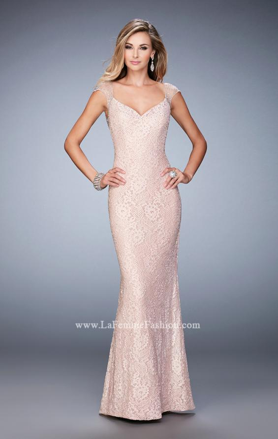 Picture of: Stretch Lace Prom Dress with Sheer Cap Sleeves and Back in Pink, Style: 22493, Detail Picture 1