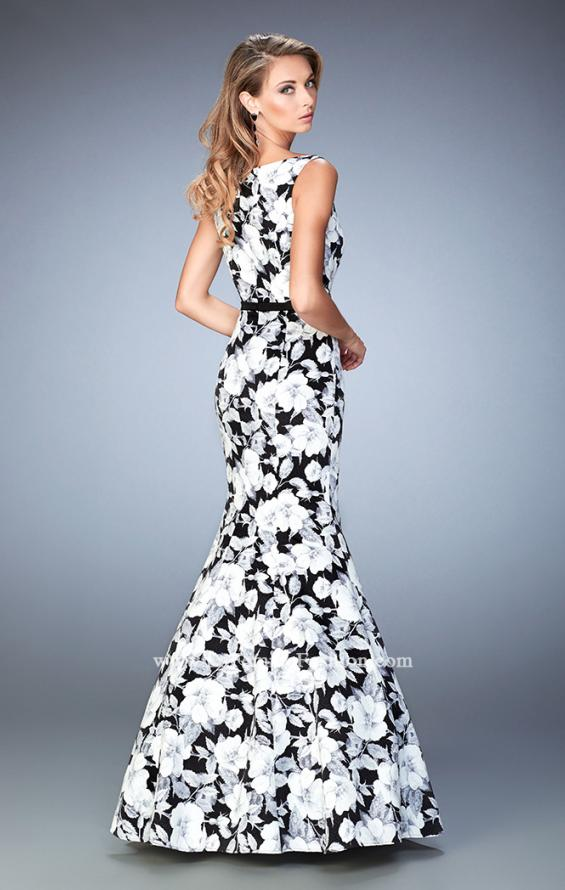 Picture of: Monochromatic Floral Print Mermaid Prom Dress, Style: 22494, Back Picture