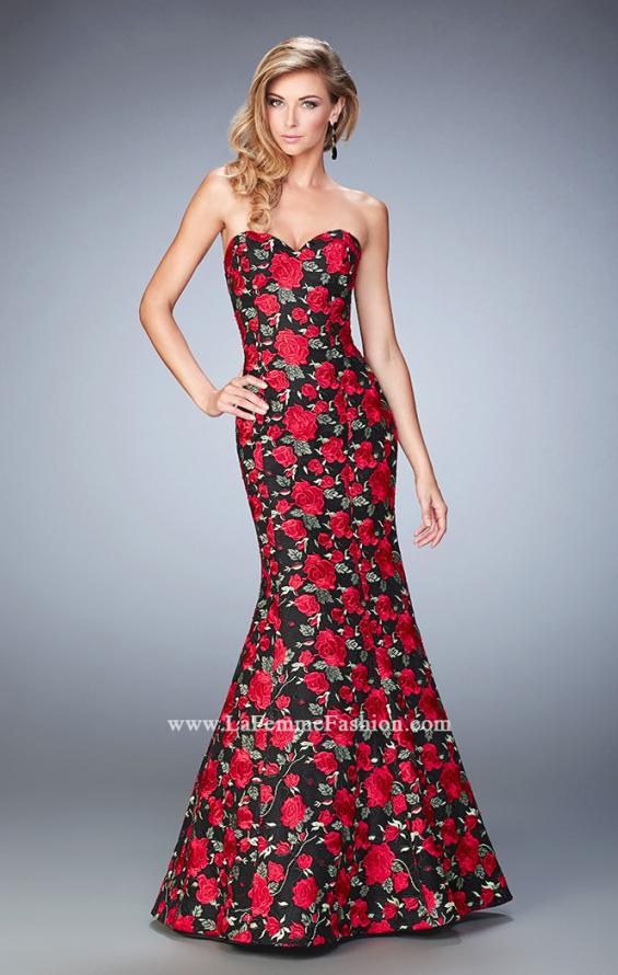 Picture of: Floral Lace Mermaid Gown with Rhinestones, Style: 22507, Main Picture