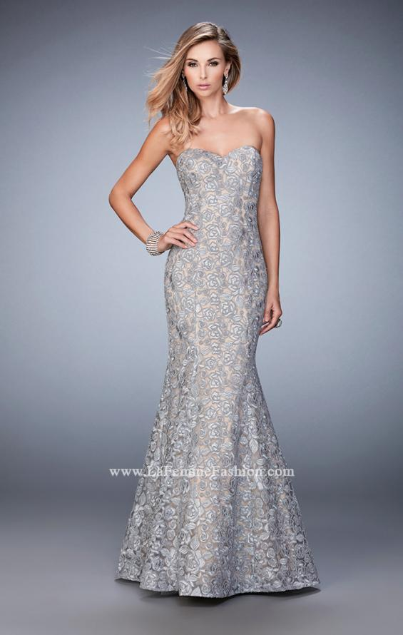 Picture of: Long Mermaid Prom Gown with Sweetheart Neckline in Silver, Style: 22511, Detail Picture 1
