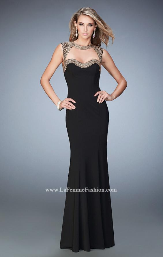 Picture of: Long Jersey Prom Dress with Stud Detailing in Black, Style: 22513, Main Picture