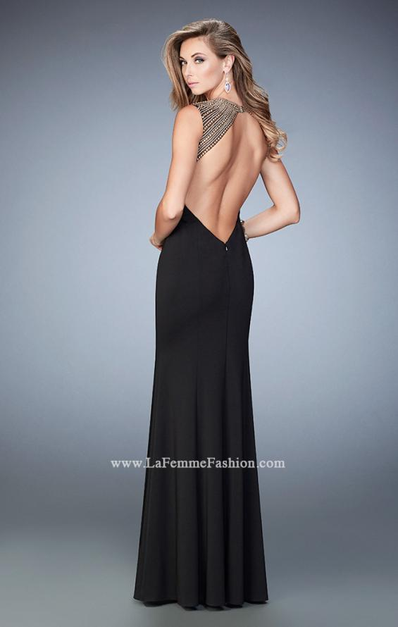 Picture of: Long Jersey Prom Dress with Stud Detailing in Black, Style: 22513, Back Picture