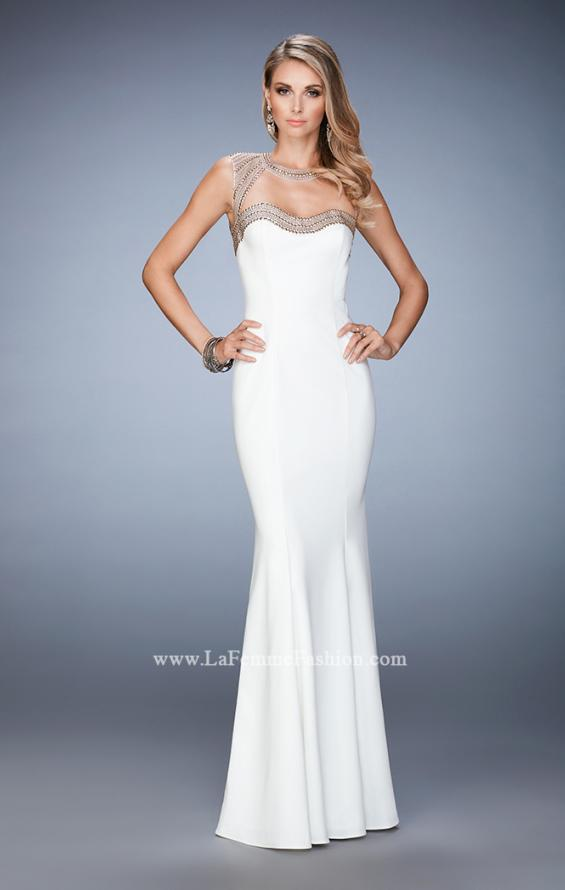 Picture of: Long Jersey Prom Dress with Stud Detailing in White, Style: 22513, Detail Picture 1