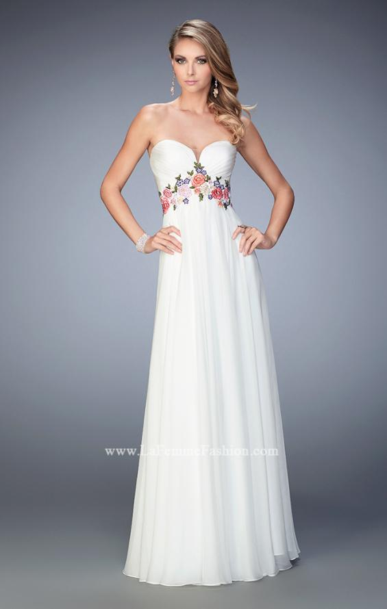 Picture of: Floral Accented Chiffon Prom Dress with Rhinestones, Style: 22521, Main Picture