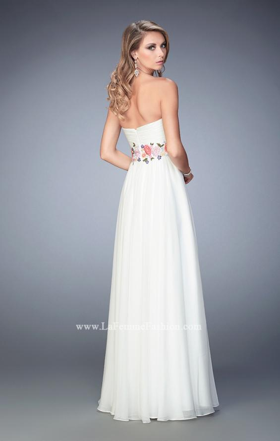 Picture of: Floral Accented Chiffon Prom Dress with Rhinestones, Style: 22521, Back Picture