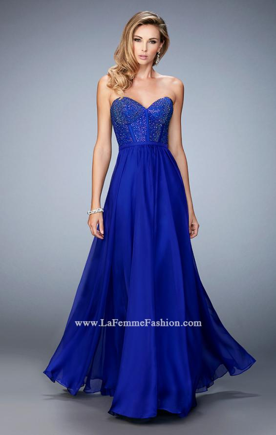 Picture of: Long Chiffon Prom Dress with Crystal Rhinestones in Blue, Style: 22524, Detail Picture 1