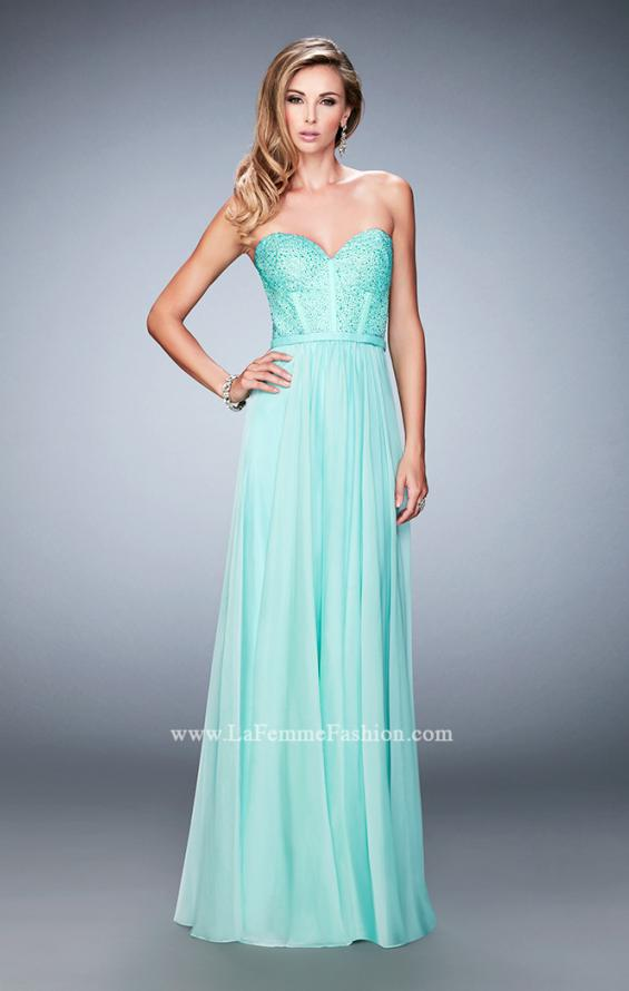 Picture of: Long Chiffon Prom Dress with Crystal Rhinestones in Green, Style: 22524, Detail Picture 2