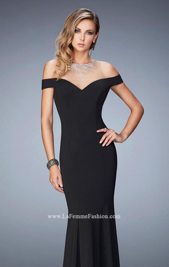 Picture of: Embellished Off the Shoulder Jersey Prom Gown in Black, Style: 22527, Main Picture