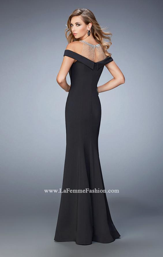 Picture of: Embellished Off the Shoulder Jersey Prom Gown in Black, Style: 22527, Back Picture