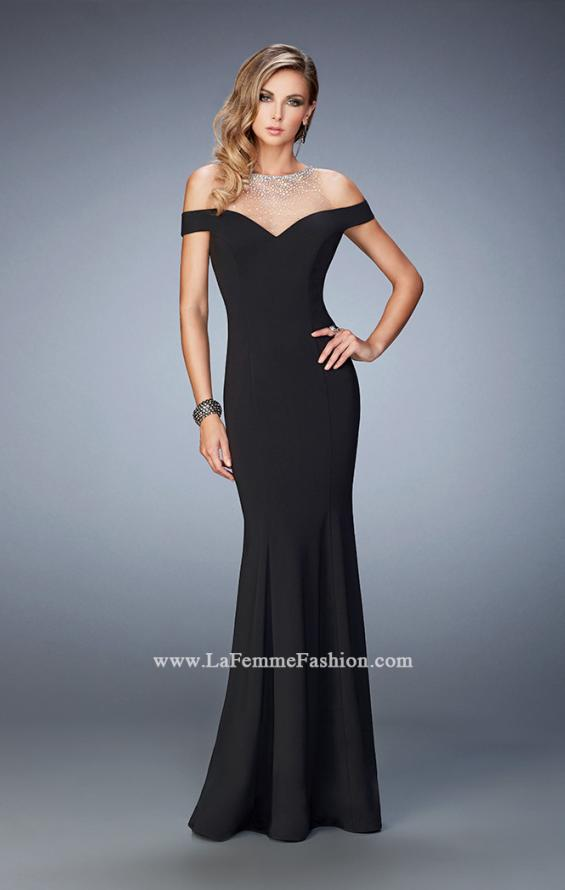 Picture of: Embellished Off the Shoulder Jersey Prom Gown in Black, Style: 22527, Detail Picture 1