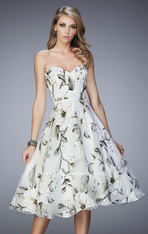 Picture of: Floral Organza Tea Length Prom Dress, Style: 22533, Detail Picture 1