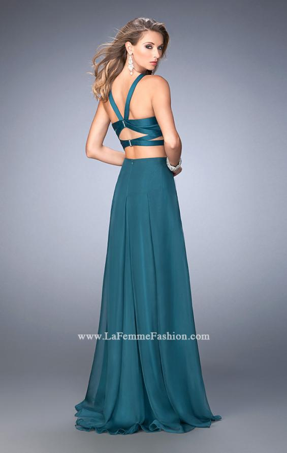 Picture of: Two Piece Prom Dress with Chiffon Skirt and Satin Top in Green, Style: 22555, Back Picture