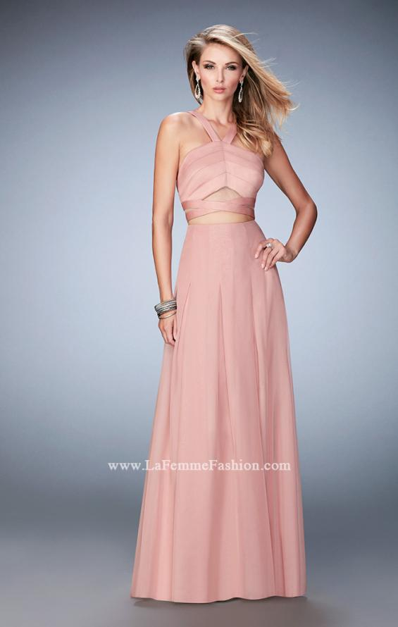 Picture of: Two Piece Prom Dress with Chiffon Skirt and Satin Top in Pink, Style: 22555, Detail Picture 2
