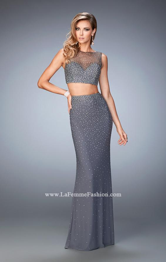 Picture of: Two Piece Net Gown with Mixed Metal Studding in Silver, Style: 22567, Main Picture