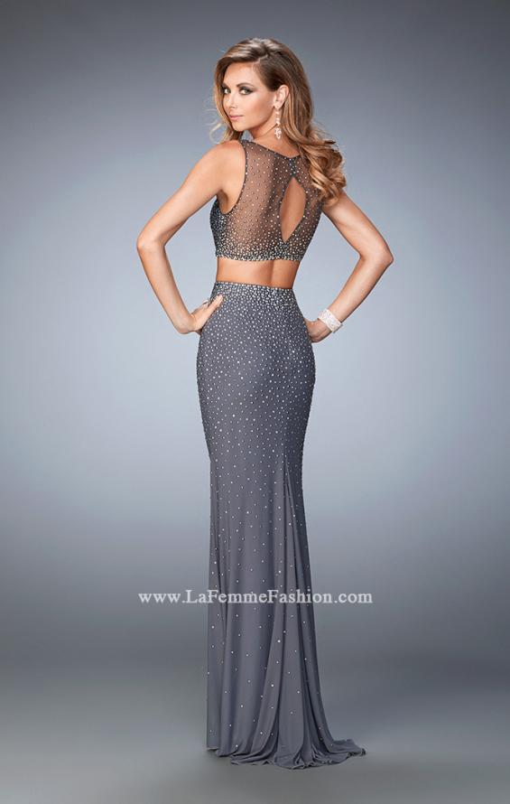 Picture of: Two Piece Net Gown with Mixed Metal Studding in Silver, Style: 22567, Back Picture