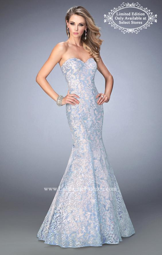 Picture of: Long Lace Sequined Mermaid Prom Dress in Blue, Style: 22571, Main Picture