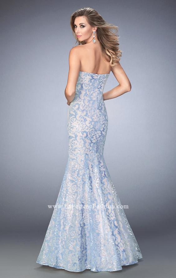Picture of: Long Lace Sequined Mermaid Prom Dress in Blue, Style: 22571, Back Picture