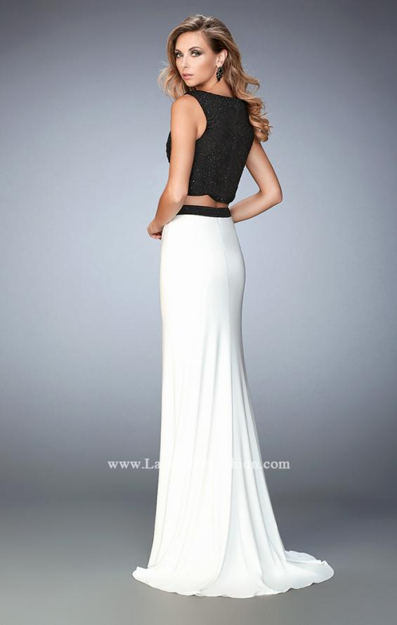 Picture of: Two Piece Jersey Prom Dress with Scalloped Hem in White, Style: 22578, Back Picture