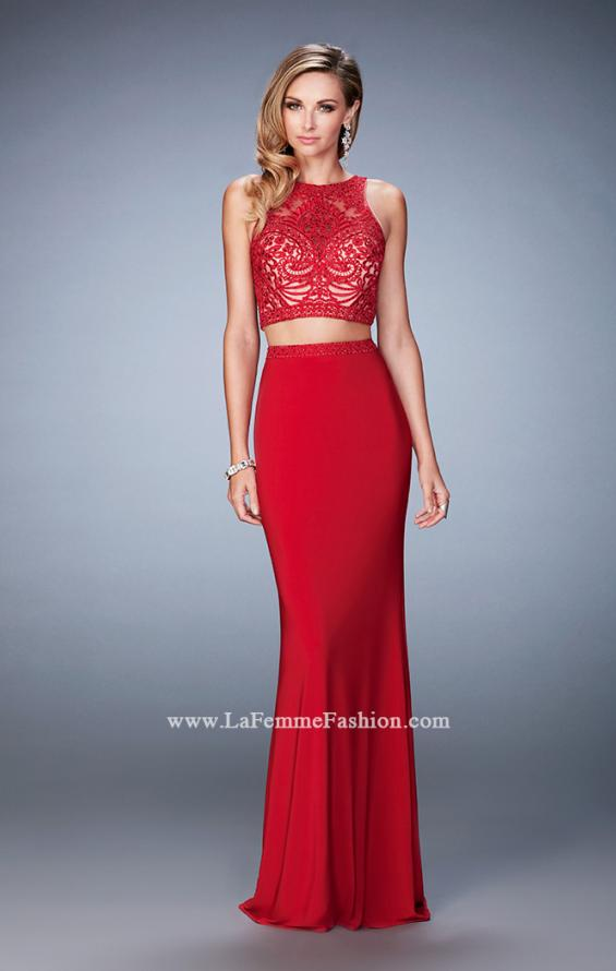 Picture of: Two Piece Dress with Lace Top and Jersey Long Skirt in Red, Style: 22581, Detail Picture 1