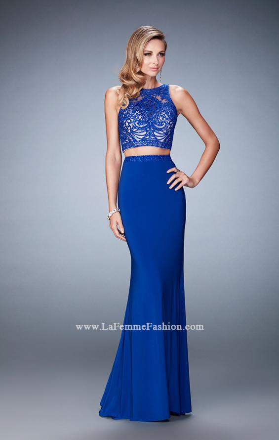 Picture of: Two Piece Dress with Lace Top and Jersey Long Skirt in Blue, Style: 22581, Detail Picture 2