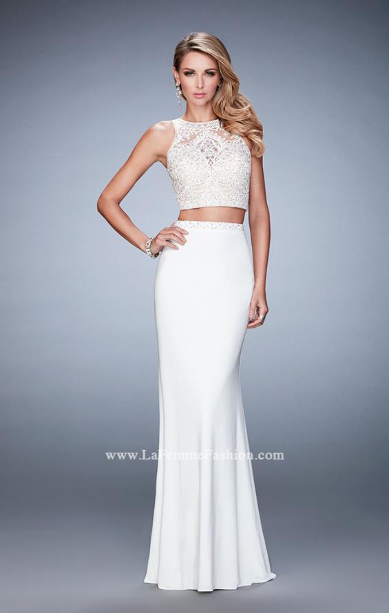 Picture of: Two Piece Dress with Lace Top and Jersey Long Skirt in White, Style: 22581, Detail Picture 3