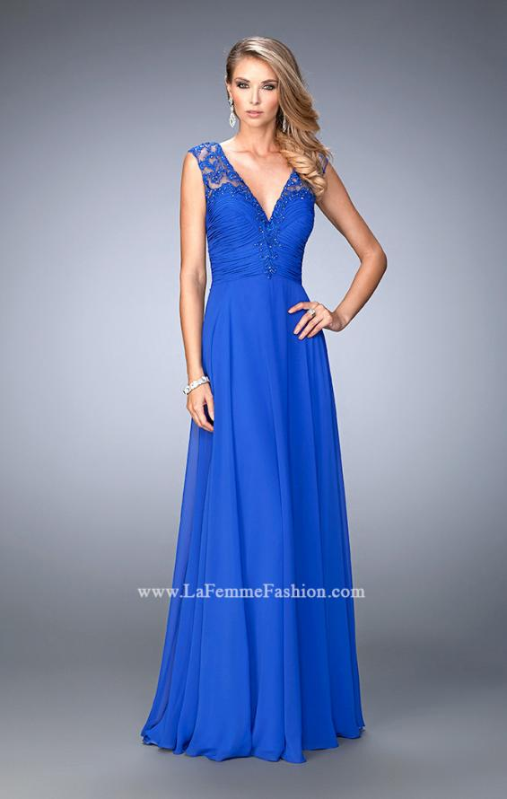 Picture of: Crepe Chiffon Prom Dress with Embroidery in Blue, Style: 22583, Main Picture