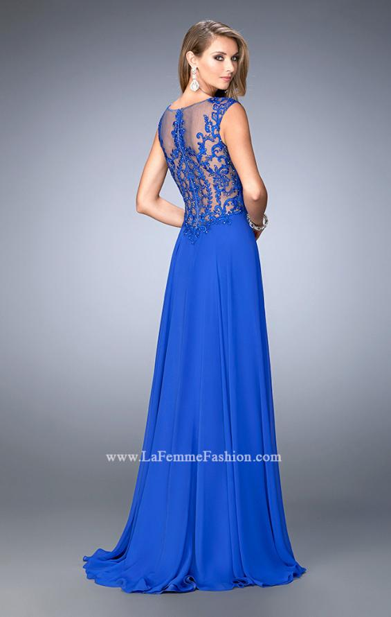 Picture of: Crepe Chiffon Prom Dress with Embroidery in Blue, Style: 22583, Back Picture