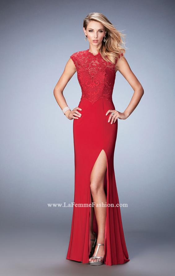 Picture of: Jersey Prom Dress with Tonal Embroidery and Slit, Style: 22585, Main Picture