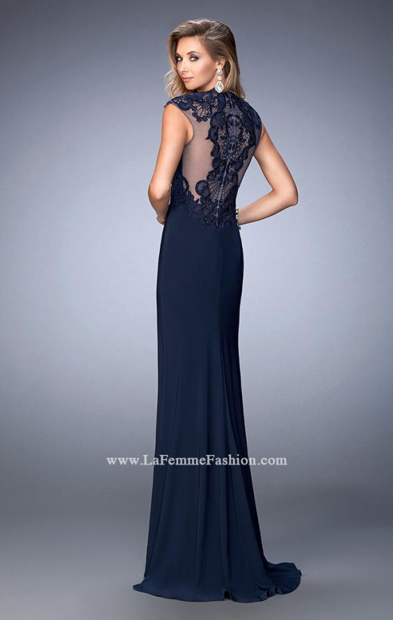 Picture of: Jersey Prom Dress with Tonal Embroidery and Slit, Style: 22585, Back Picture