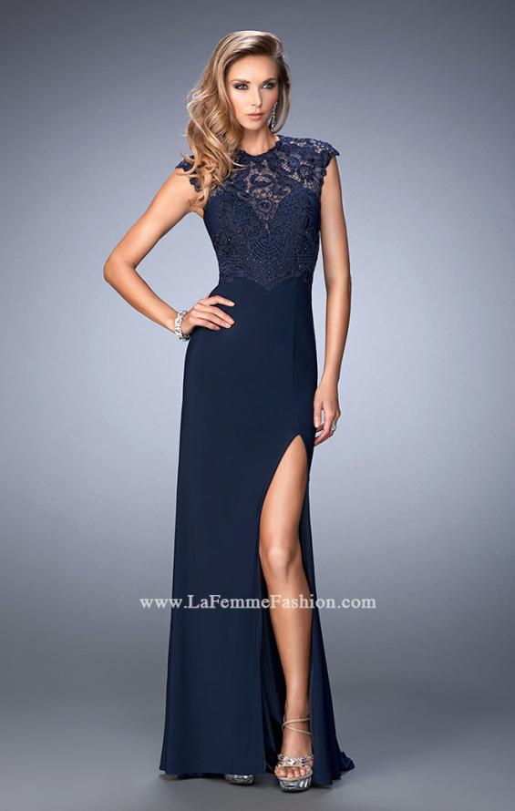 Picture of: Jersey Prom Dress with Tonal Embroidery and Slit, Style: 22585, Detail Picture 1