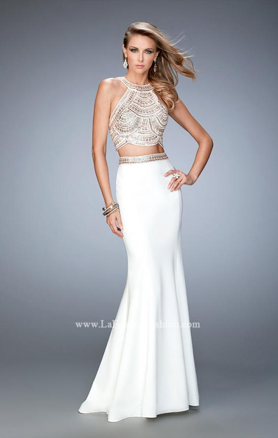 Picture of: Embellished Two Piece Prom Dress with Train in White, Style: 22587, Main Picture