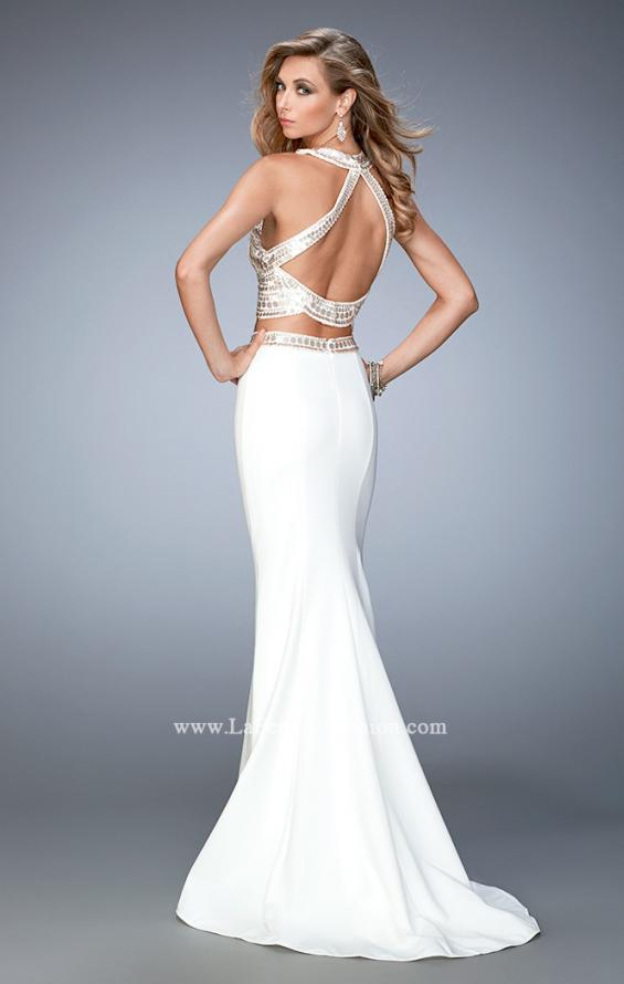 Picture of: Embellished Two Piece Prom Dress with Train in White, Style: 22587, Back Picture