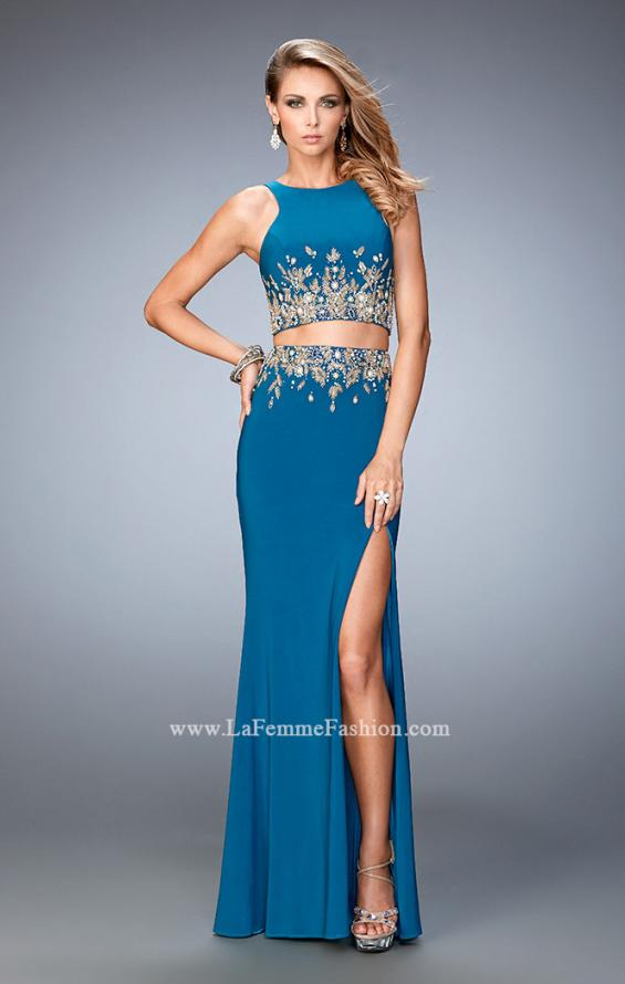 Picture of: Long Two Piece Embellished Prom Dress with leg slit, Style: 22592, Main Picture