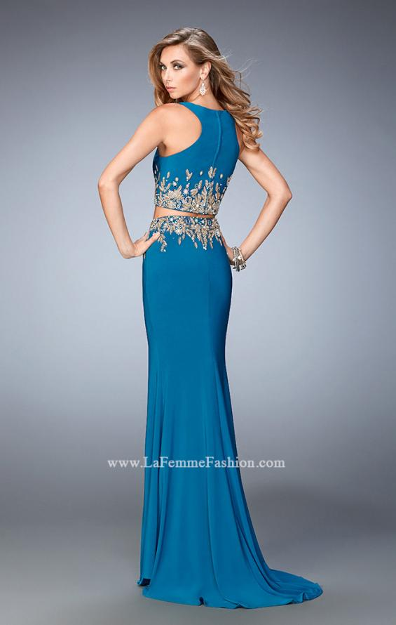 Picture of: Long Two Piece Embellished Prom Dress with leg slit, Style: 22592, Back Picture