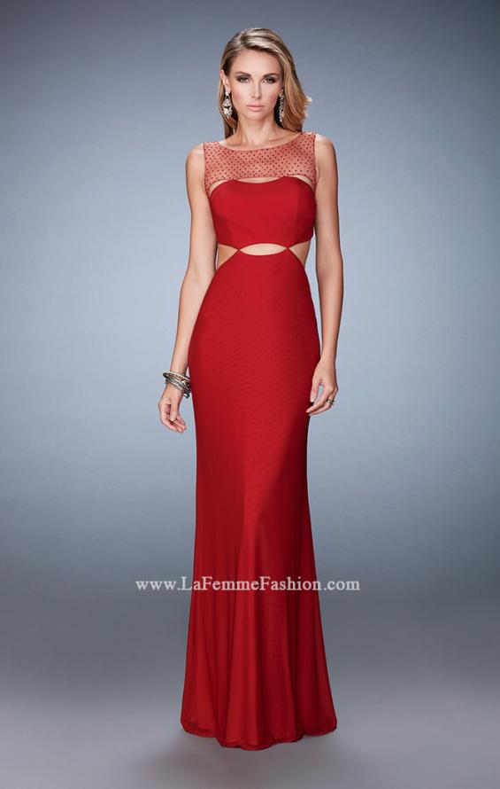 Picture of: Embellished Jersey Prom Dress with Cut Out Neckline, Style: 22600, Detail Picture 1