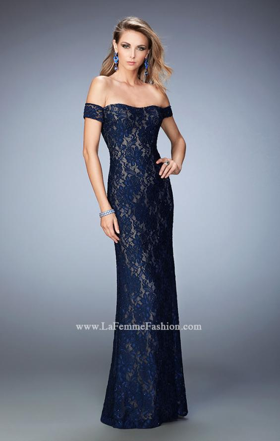 Picture of: Off the Shoulder Lace Prom Gown with Rhinestones, Style: 22605, Main Picture