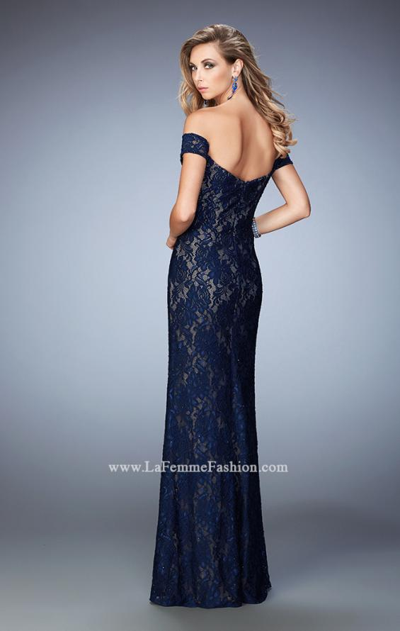 Picture of: Off the Shoulder Lace Prom Gown with Rhinestones, Style: 22605, Back Picture