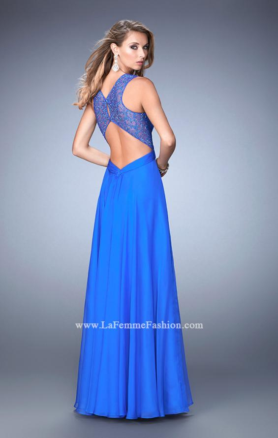 Picture of: Long Floral Chiffon Gown with Sweetheart Neckline, Style: 22612, Back Picture