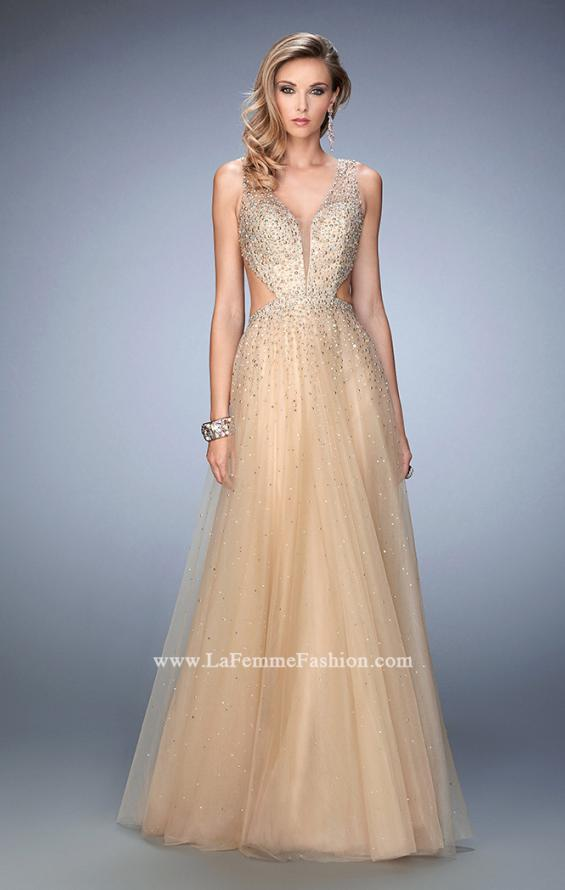 Picture of: Long Embellished Tulle Gown with Plunging Neckline in Nude, Style: 22613, Main Picture