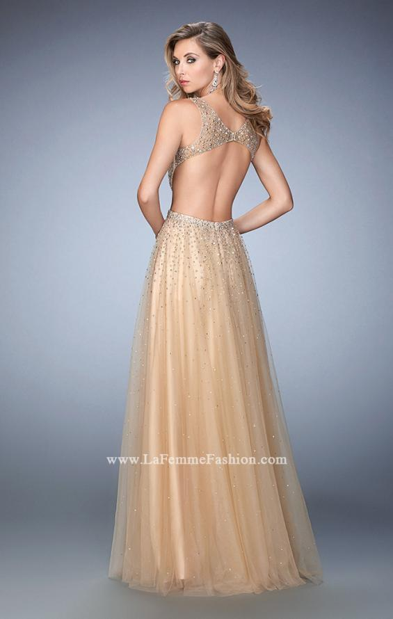 Picture of: Long Embellished Tulle Gown with Plunging Neckline in Nude, Style: 22613, Back Picture