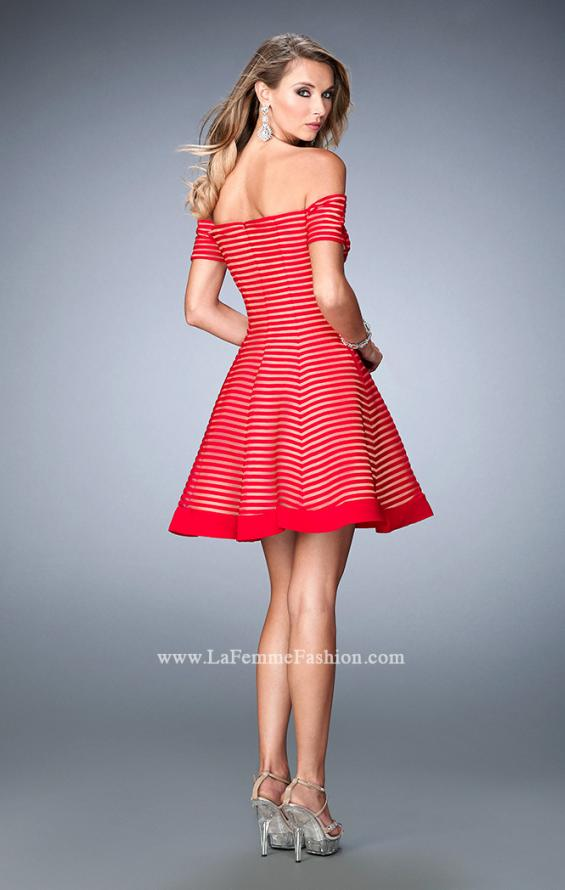 Picture of: Striped Short Dress with Off the Shoulder Neckline, Style: 22621, Back Picture