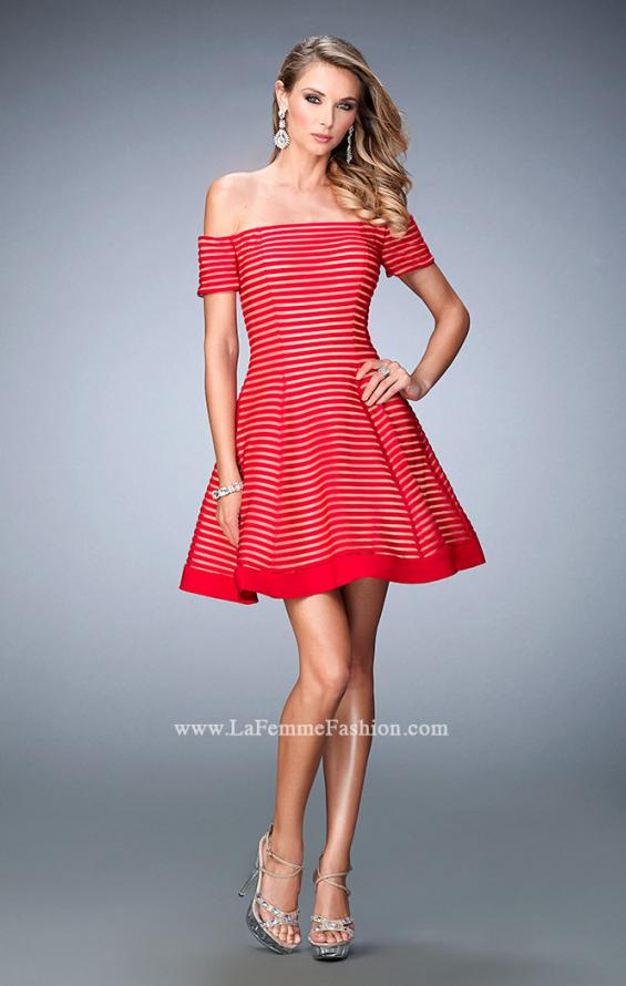 Picture of: Striped Short Dress with Off the Shoulder Neckline, Style: 22621, Detail Picture 1
