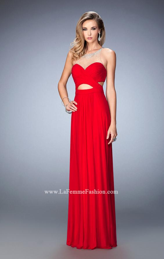 Picture of: Stoned Net Prom Gown with Side Cut Outs in Red, Style: 22624, Main Picture