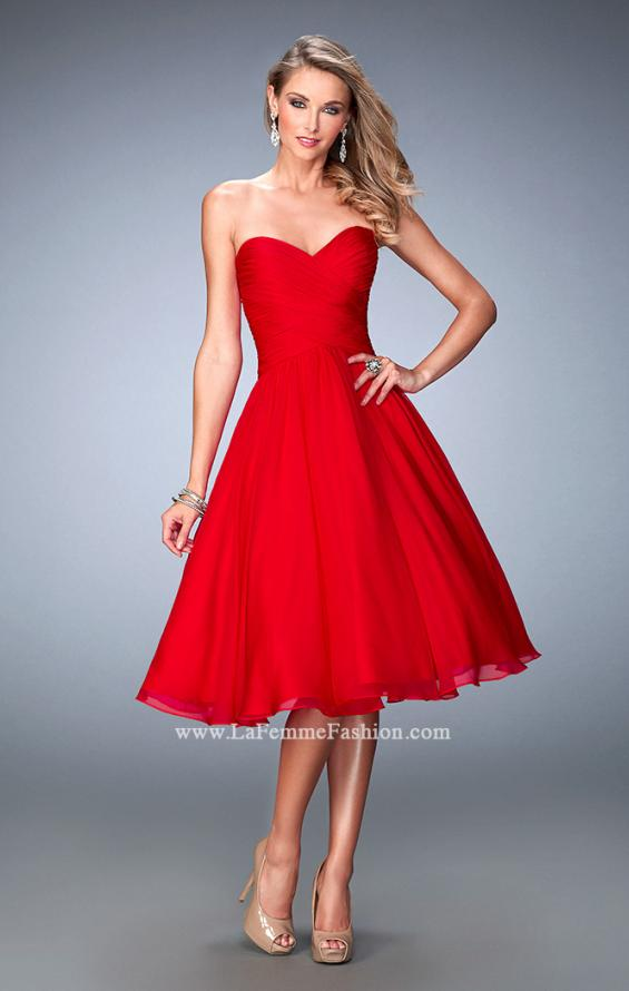 Picture of: Tea Length Party Dress with Gathered Bodice, Style: 22638, Main Picture