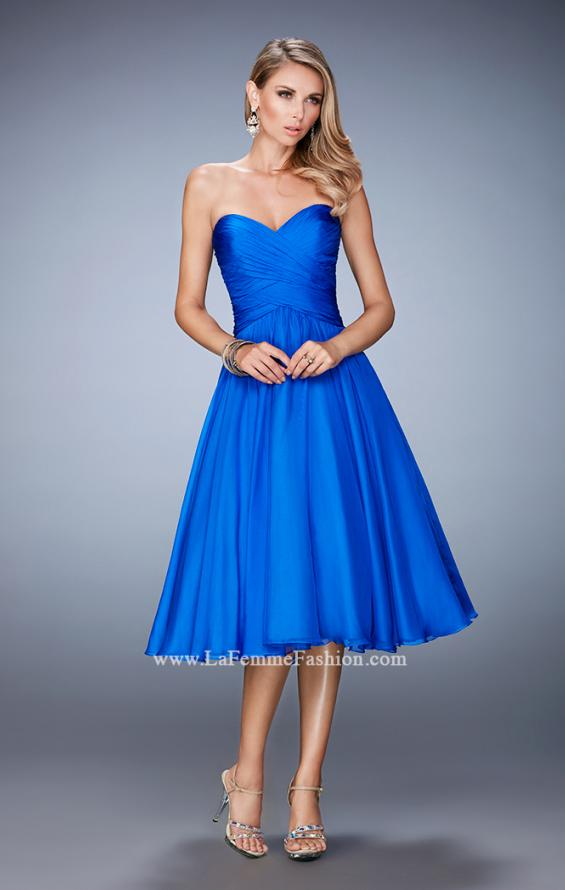 Picture of: Tea Length Party Dress with Gathered Bodice, Style: 22638, Detail Picture 1