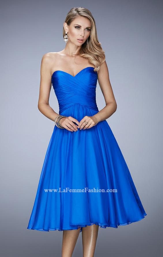Picture of: Tea Length Party Dress with Gathered Bodice, Style: 22638, Detail Picture 3