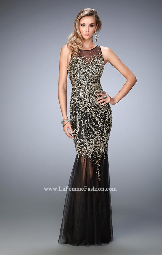 Picture of: Tulle Prom Dress with Sequins and Beading in Black, Style: 22643, Main Picture