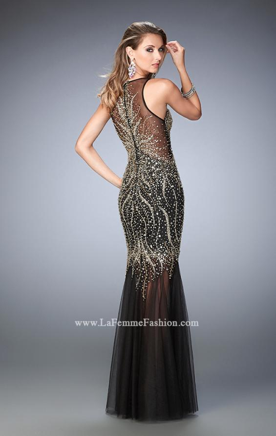 Picture of: Tulle Prom Dress with Sequins and Beading in Black, Style: 22643, Back Picture