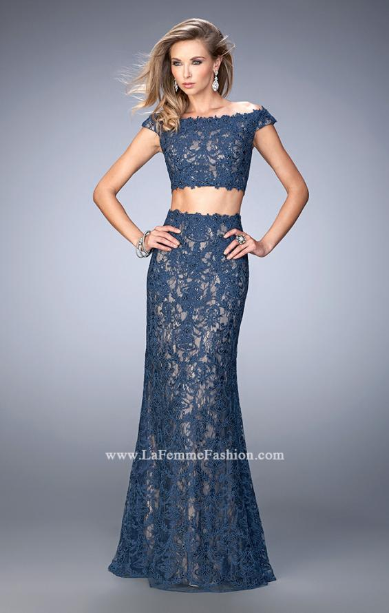 Picture of: Two Piece Off the Shoulder Embellished Prom Dress in Blue, Style: 22645, Main Picture